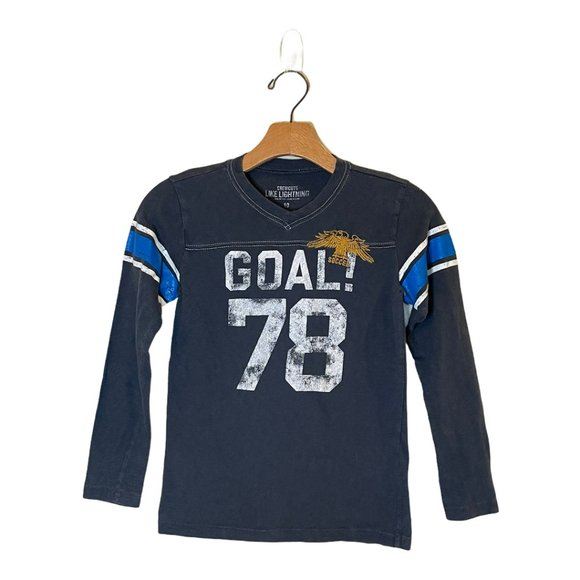 Crew Crewcuts Blue V-Neck Graphic Soccer Shirt 10